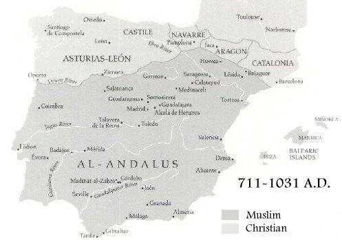 8th-11th Century map of Muslim Spain